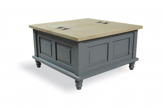 Polruan Grey Square Storage Coffee Table
